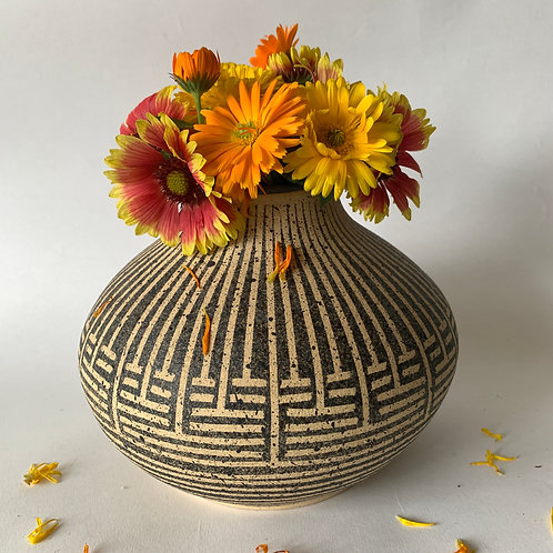 Olla Vase with Weave Pattern