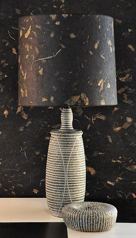 Handmade ceramic lamp with handmade paper shade.