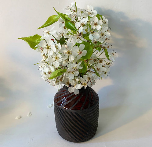 Bud Vase with Weave Pattern in Black