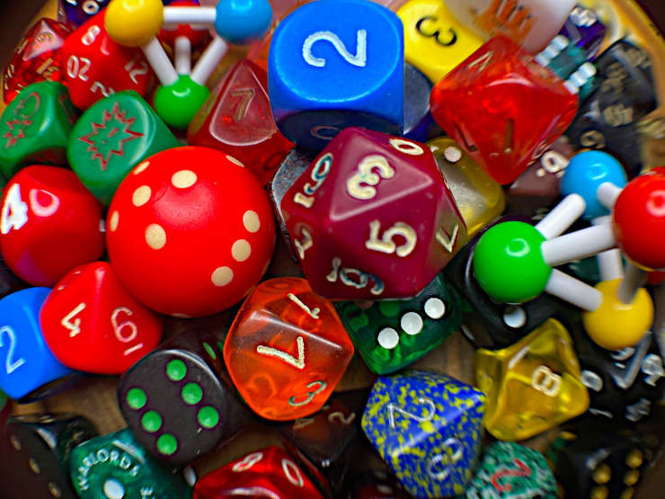 Lots of different shaped dice