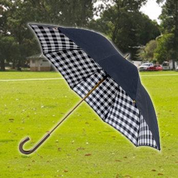 Double Canopy Black Check Umbrella