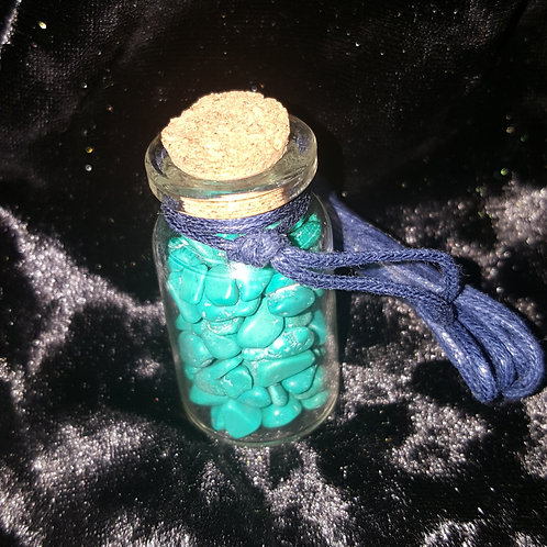 Magnesite Blue Cord Vial Necklace