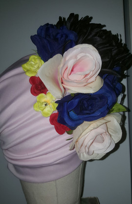 Soft Pink Floral Turban With Natural Pleats(SIDE VIEW)