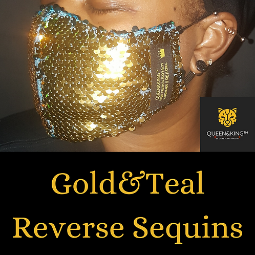 Gold&Teal Reverse Sequins Face Mask