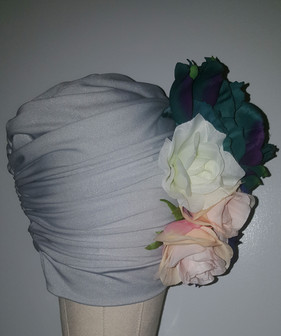 Silver Floral Turban With Natural Pleats(SIDE VIEW)