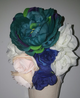 Silver Floral Turban With Natural Pleats(FLOWER VIEW)