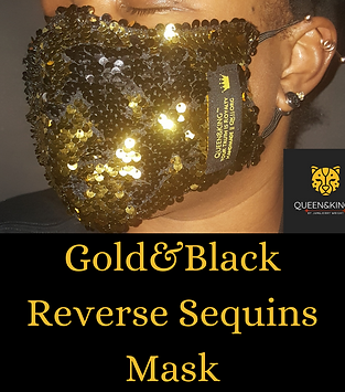 Gold&Black Reverse Sequins Face Mask