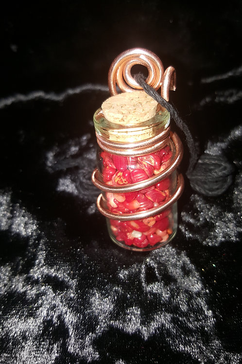 Bamboo Coral Wired Vial Necklace (Black Hemp Cord)
