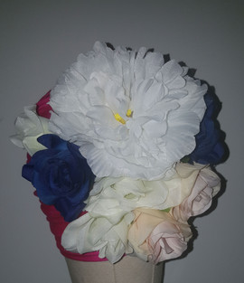 Fuchsia Floral Turban With Natural Pleats(FLOWER VIEW)