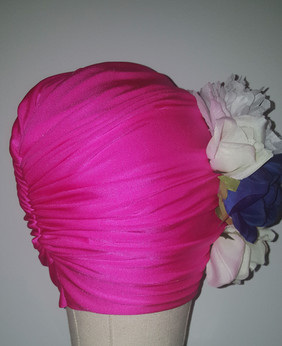 Fuchsia Floral Turban With Natural Pleats(SIDE VIEW)