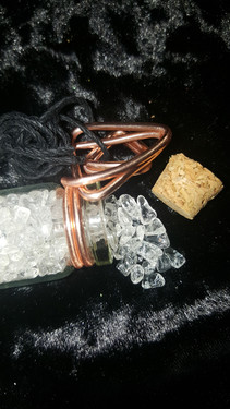 Clear Crystal Wired Vial Necklace (Black
