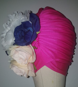 Fuchsia Floral Turban With Natural Pleats(FRONT VIEW)