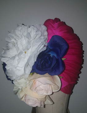 Fuchsia Floral Turban With Natural Pleats(SIDE FRONT VIEW)