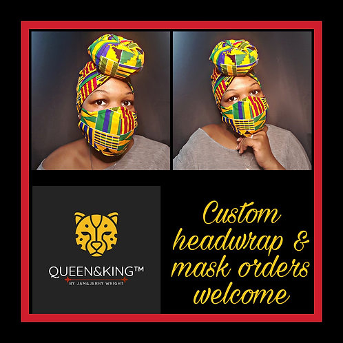 Green Kente Mask & Headwrap Set