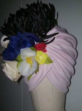 Soft Pink Floral Turban With Natural Pleats(FRONT VIEW)