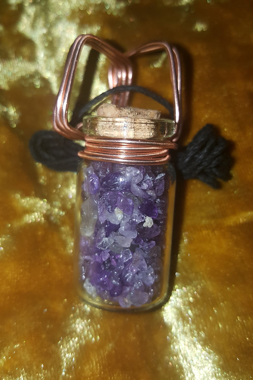 Amethyst Wired Vial Necklace (Black Hemp Cord)