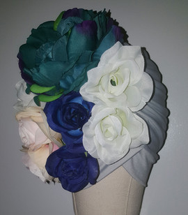 Silver Floral Turban With Natural Pleats(SIDE FRONT VIEW)