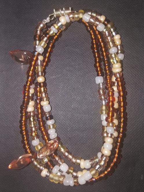 """Brown&Beige Waist Beads(34"""")"""