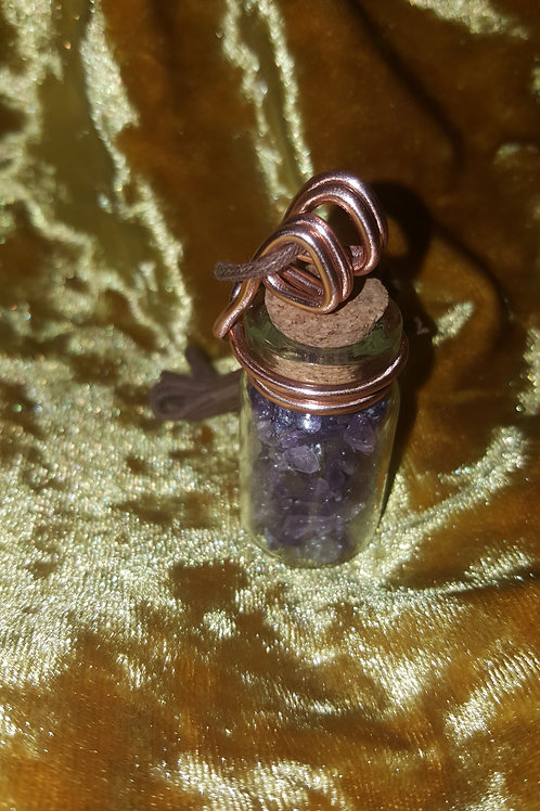 Amethyst Wired Vial Necklace (Brown Cord)