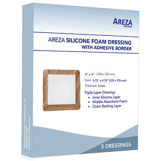 silicone foam dressing adhesive border