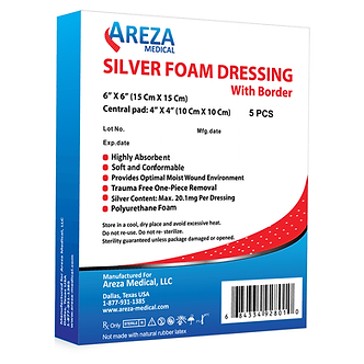 silver foam dressing bordered wound care