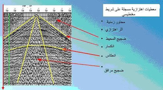 تسجيل لآثار نقطة توليد واحدة مؤلف من عدد من الآثار الاهتزازية (سيسموغرام