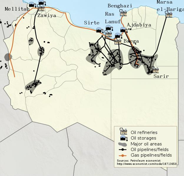 مواقع النفط والغاز في ليبيا