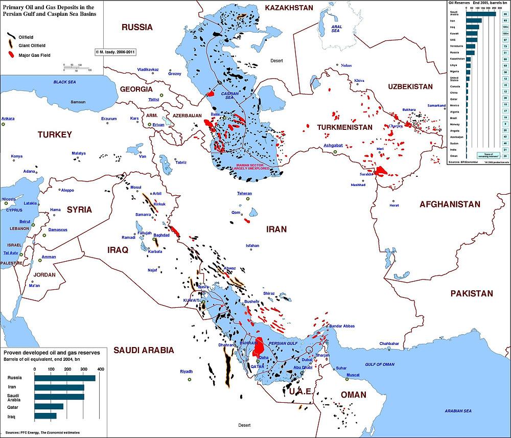 أين يتركز النفط في شبه جزيرة العرب؟
