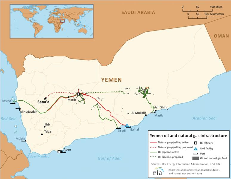 خريطة توضح حقول البترول وخطوط الأنابيب في اليمن
