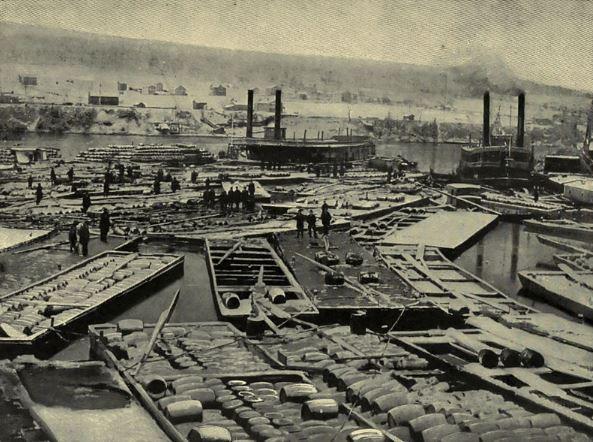 أسطول من قوارب النفط عام 1864