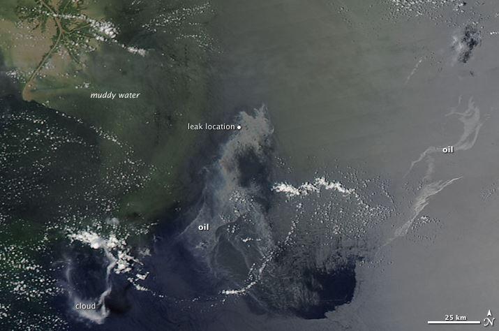 صورة لبقعة نفطية في خليج المكسيك ملتقطة عبر ناسا