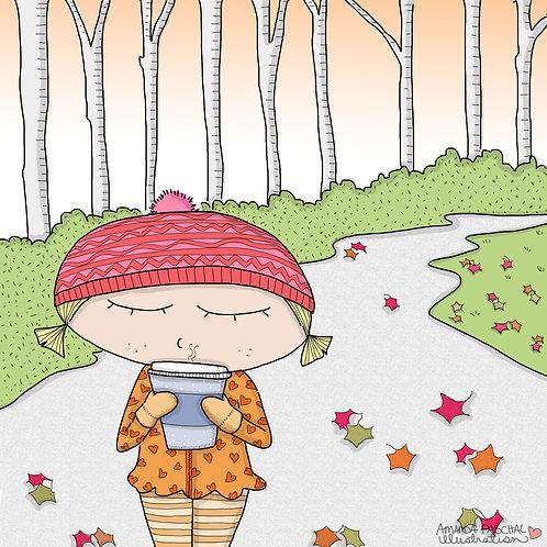 """Crisp Leaves and Hot Chocolate"" Print"