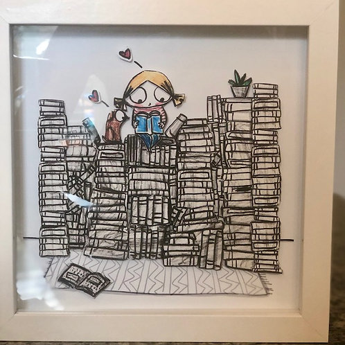 """Fill your house with stacks of books"" 3Dimensional framed print"
