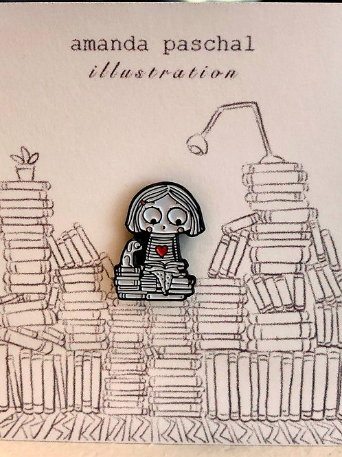 Reading Girl Pin