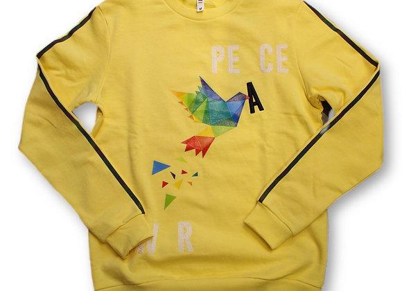 Peace crewneck - yellow mockingbird