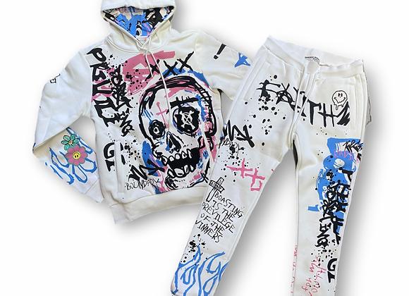 Skull grafitti set - white