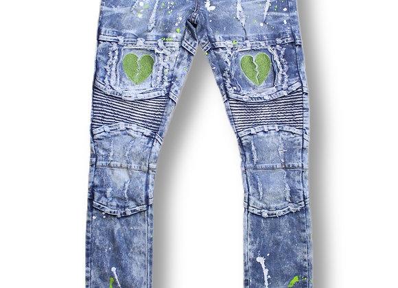 Green heart jeans