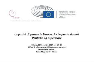 """Seminario """"La parità di genere in Europa. A che punto siamo? Politiche ed esperienze""""  Mil"""