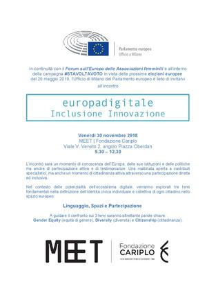 """""""Europadigitale: Inclusione Innovazione Identità""""Forum delle Associazioni Femminili"""