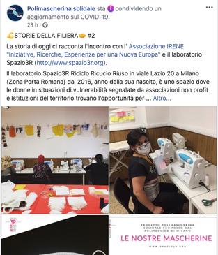 IN TEMPO DI COVID19 IL LABORATORIO SPAZIO3R DIVENTA PROMOTORE DI COMUNITA'