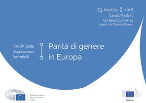 """""""Parità di genere in Europa"""" Forum delle Associazioni Femminili"""