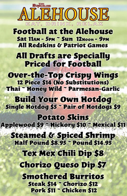 Alehouse Football Menu 11x17