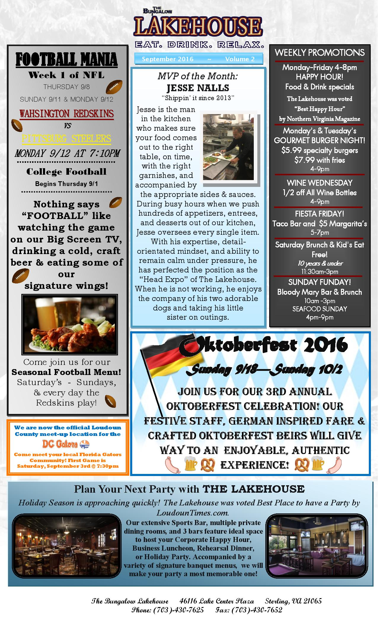 Lakehouse September 2016 News Letter