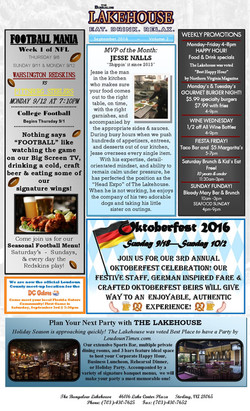 Lakehouse September 2016 News Letter