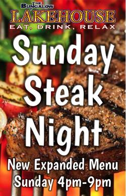 Lakehouse Steak Night Sunday