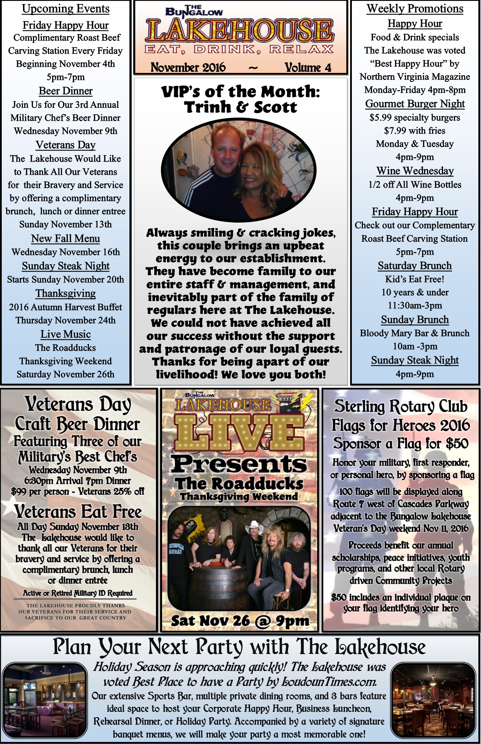 November 2016 Newsletter Lakehouse