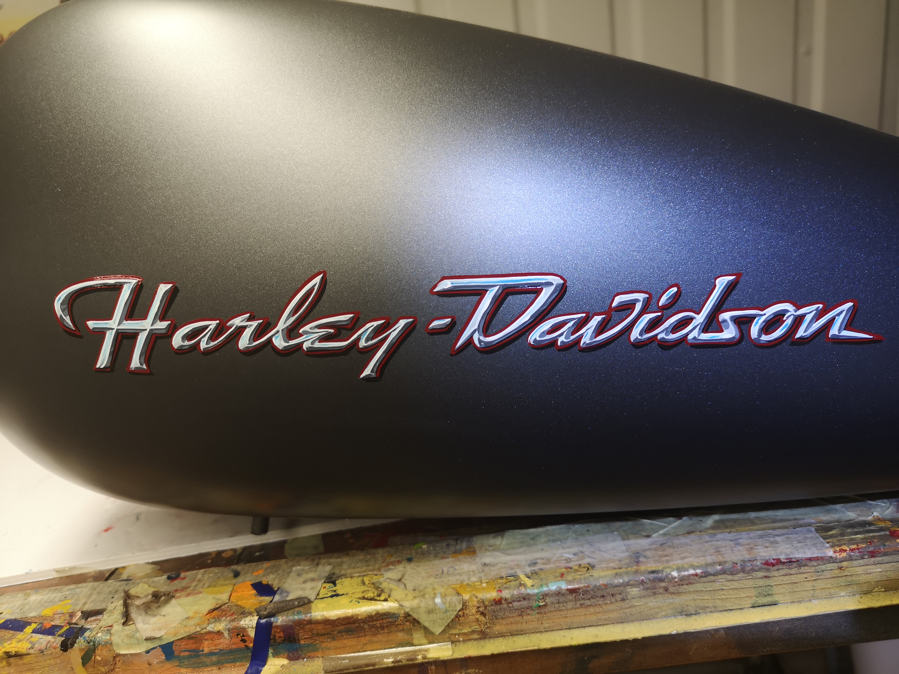 Chrome lettering on Harley tank