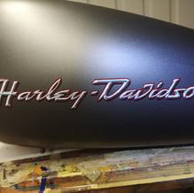 Chrome lettering on Harley tank