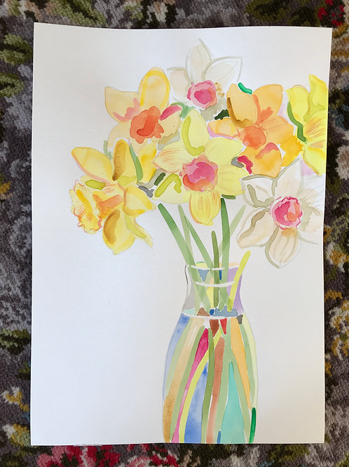 Daffs in a milk bottle #1! Original Painting