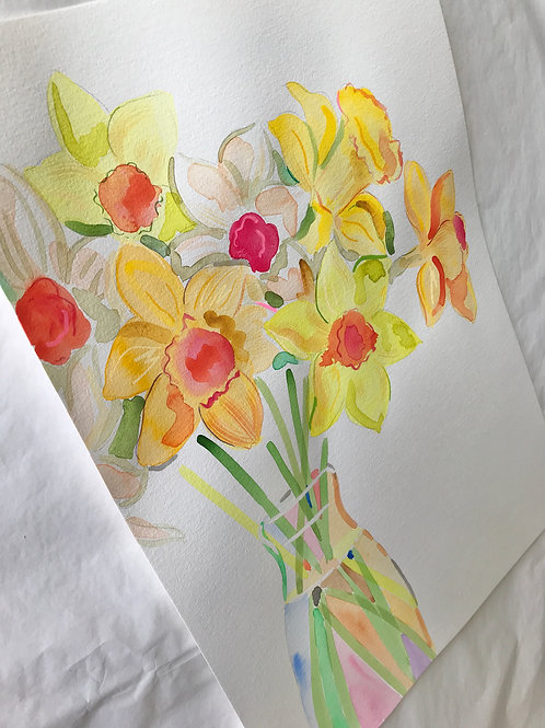 Daffs in a Milk Bottle #2 Original painting
